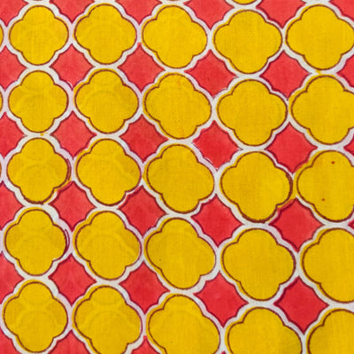 Pure Cotton Jaipuri Yellow And Pink Tile Hand Block Print Fabric