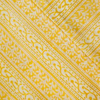 Pure Cotton Jaipuri Yellow With Intricately Patterned  Blouse Stripes fabric (1 meter)