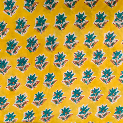 Pure Cotton Jaipuri Yellow With Teal Single Flower Plant Hand Block Print Fabric