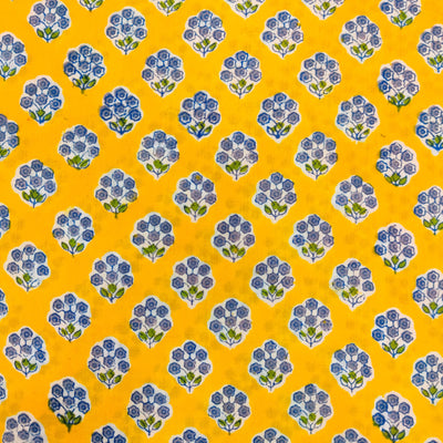 Pure Cotton Jaipuri Yellow With Tiny Bluish Purple Flower Plant Motif Hand Block Print Fabric