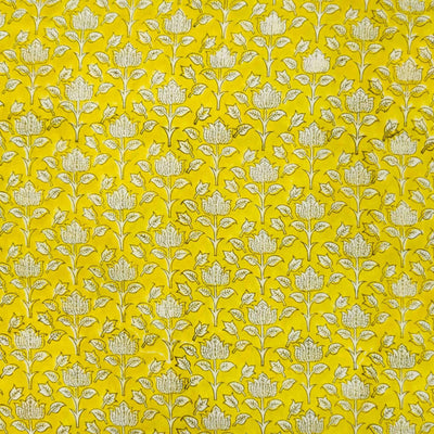 Pure Cotton Jaipuri Yellow With White Lotus Hand Block Print  Blouse Fabric