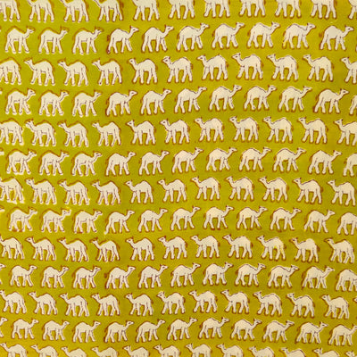 Pure Cotton Jaipuri Yellowish Green With Tiny Camel Hand Block Print Fabric