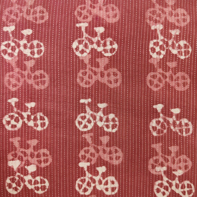 Pure Cotton Kaatha Burgandy With Cycle Hand Block Print Fabric