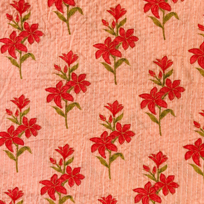 Pure Cotton Kaatha Flamingo Pink With Red Flower Bunch Motif Hand Block Print FabricPure Cotton Kaatha Flamingo Pink With Red Flower Bunch Motif Hand Block Print Fabric