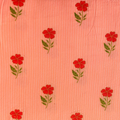 Pure Cotton Kaatha Flamingo Pink With Red Single Flower Motif Print Fabric