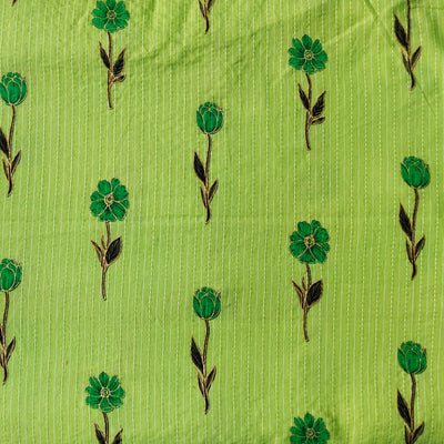 Pure Cotton Kaatha Green With Single Flower Motif Hand Block Print Fabric