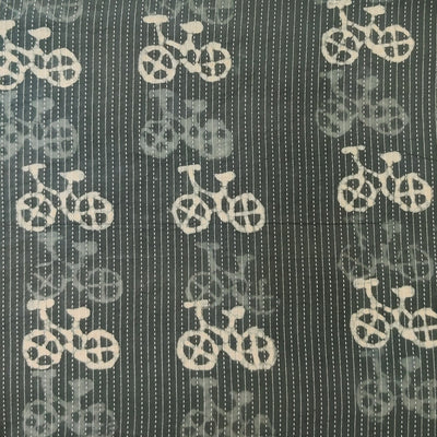 Pure Cotton Kaatha Grey With Cycle Hand Block Print Fabric