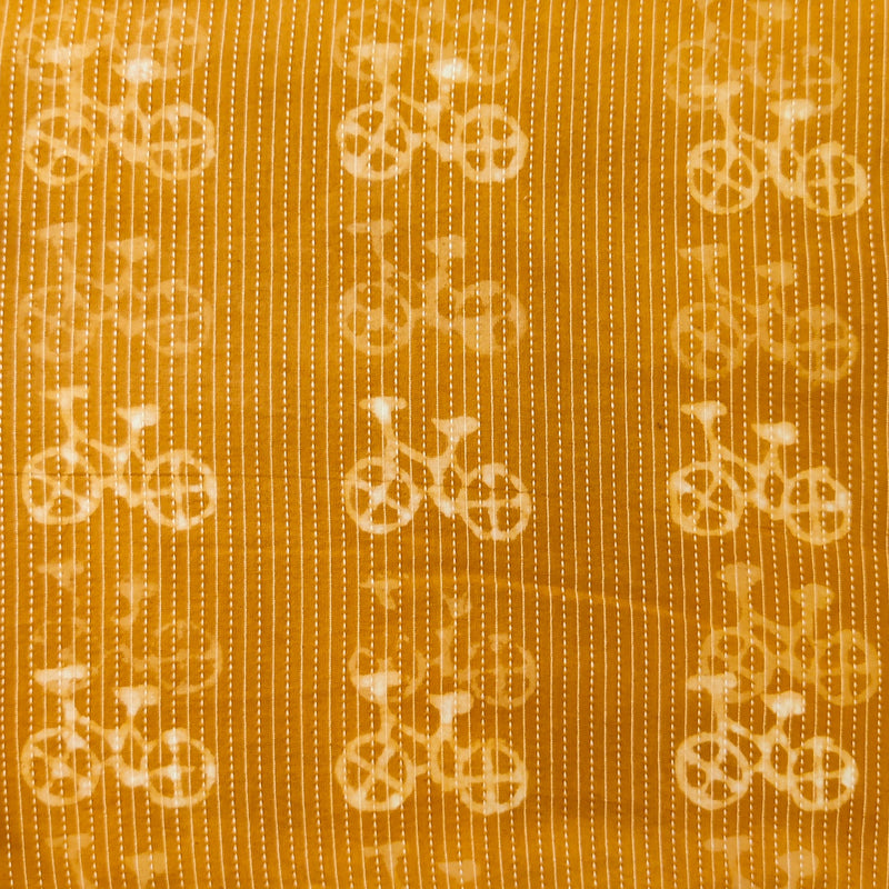 Pure Cotton Kaatha Mustard With Cycle Hand Block Print Fabric