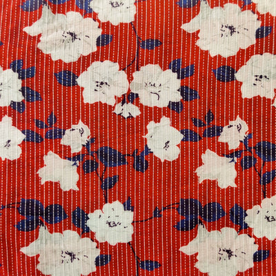 Pure Cotton Kaatha Red With Beautiful White Flower Jaal Fabric