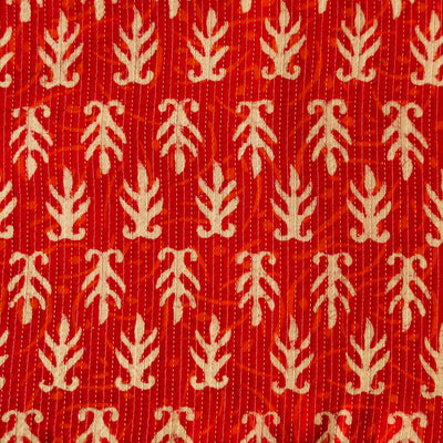 Pure Cotton Kaatha Red With Orange Self Design And Beige Motif Hand Block Print Fabric