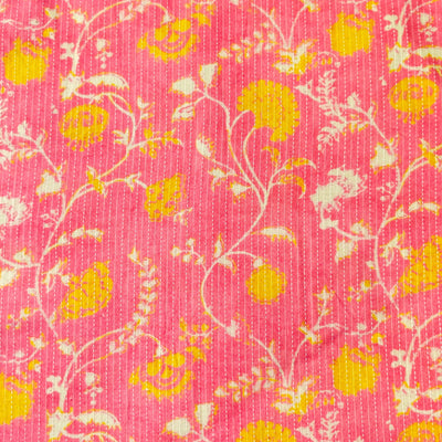 Pure Cotton Kaatha Soft Pink With Yellow Jaal Fabric