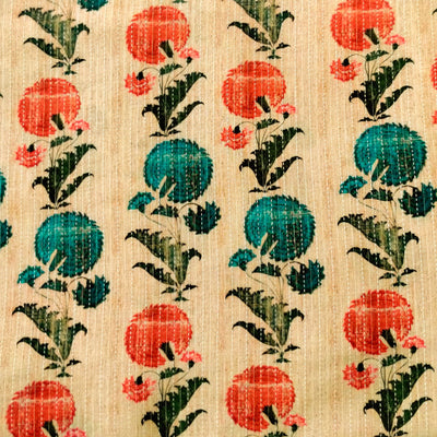 Pure Cotton Kaatha Vintage With Blue And Peach Flower Motif Jaal Fabric