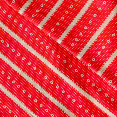 Pure Cotton Kaatha With Pink And White Simple Stripes Fabric