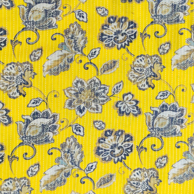 Pure Cotton Kaatha Yellow With Grey Jaal Fabric