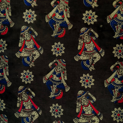 Pure Cotton Kalamkari Black With Dancing Figures Print Fabric