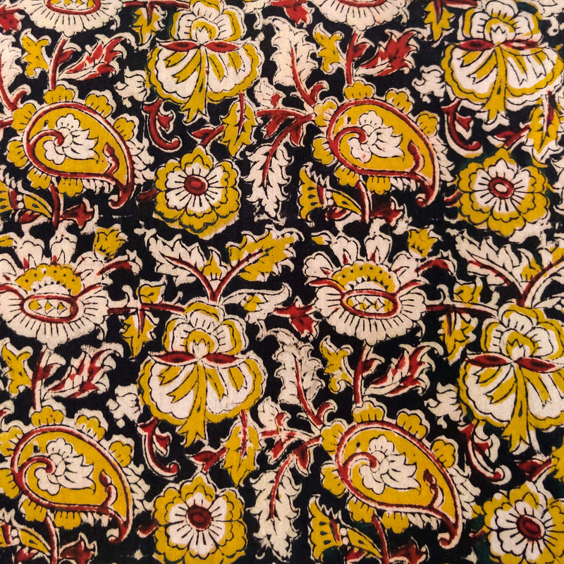 Pure Cotton Kalamkari Black With Maroon And Mustard Jaal Hand Block Print Fabric