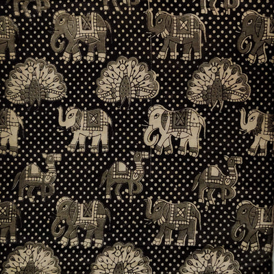 Pure Cotton Kalamkari Black With Peacock Camel Elephant Print Fabric
