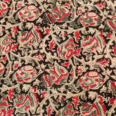 Pure Cotton Kalamkari Black With Pink And Grey Jaal Hand Block Print Fabric