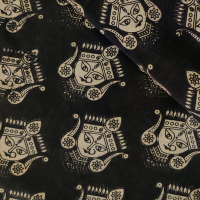 Pure Cotton Kalamkari Black With Tiny  Dancers Print Fabric