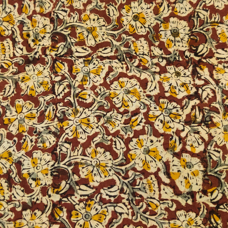 Pure Cotton Kalamkari Brown With Grey Beige And Mustard Jaal Hand Block Print Fabric