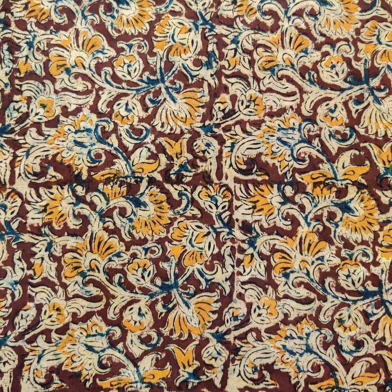 Pure Cotton Kalamkari Brown With Traditional Cream Mustard And Blue Flower Jaal Hand Block Print Fabric