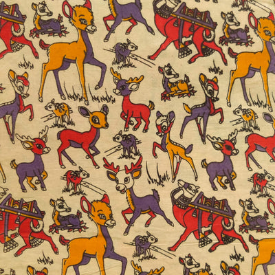 Pure Cotton Kalamkari Cream With Deers And Camels Print Fabric