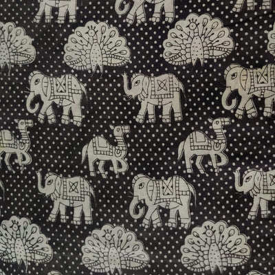 Pure Cotton Kalamkari Dull Black With Peacock Camel Elephant Print Fabric