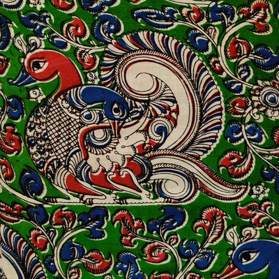 Pure Cotton Kalamkari Green With A Big Green Intricate Peacock On A Tree Print Fabric