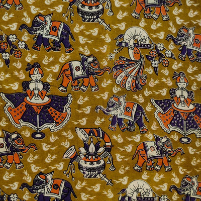 Pure Cotton Kalamkari Mustard Green With Elephants, Clown And Birds Print Fabric