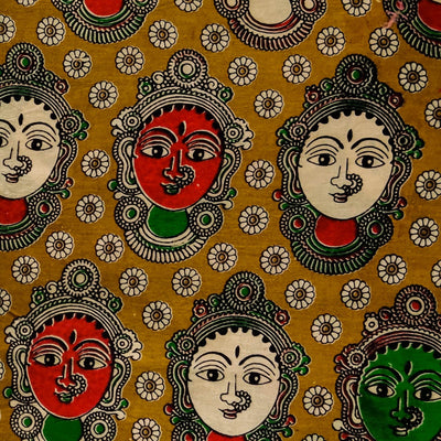 Pure Cotton Kalamkari Mustard With Dancers Print Fabric