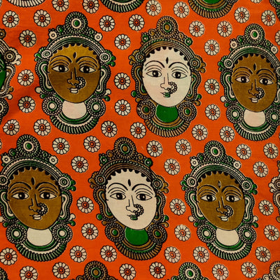 Pure Cotton Kalamkari Orange With Dancers Print Fabric