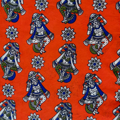 Pure Cotton Kalamkari Orange With Dancing Figures Print Fabric