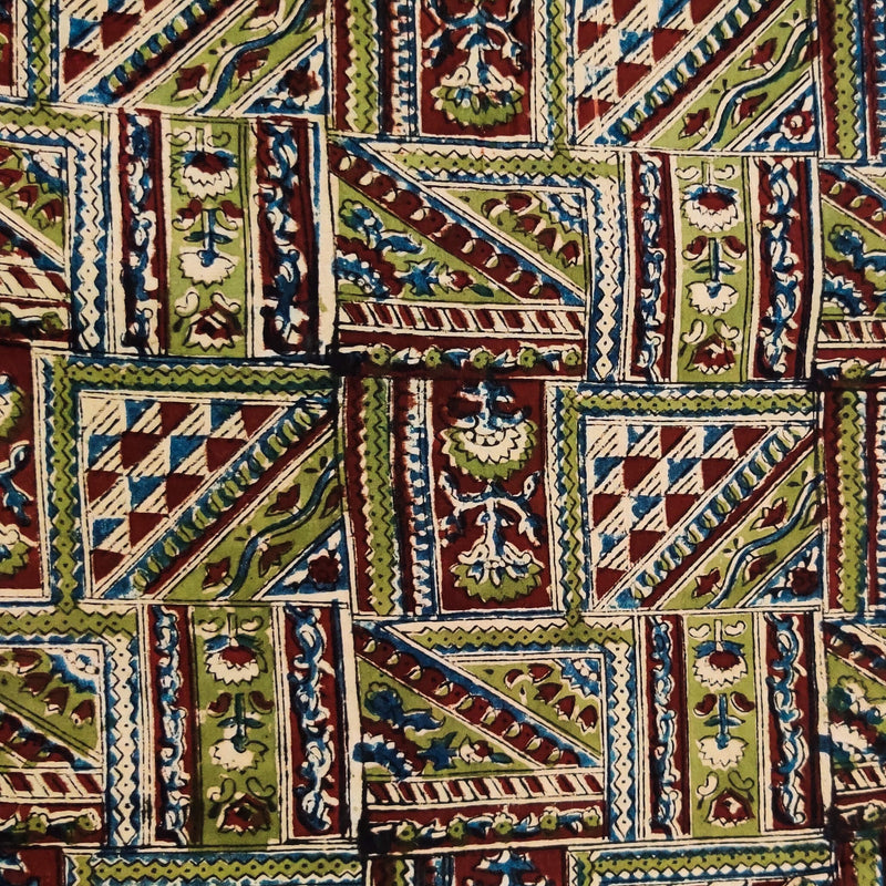 Pure Cotton Kalamkari Rust And Green Tribal Tiles Hand Block Print Fabric