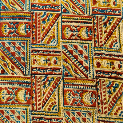 Pure Cotton Kalamkari Rust And Mustard Tribal Tiles Hand Block Print Fabric