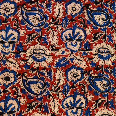 Pure Cotton Kalamkari Rust With Blue And Black Wild Flower Jaal Hand Block Print Fabric