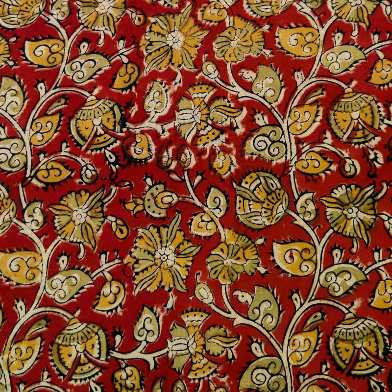 Pure Cotton Kalamkari Rust With Green And Mustard Jaal Hand Block Print Fabric