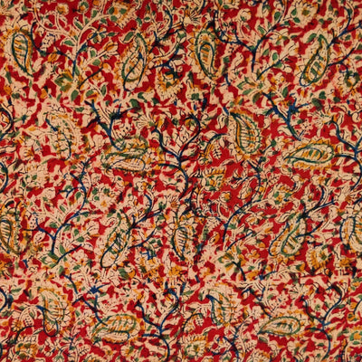 Pure Cotton Kalamkari Rust With Kairi Jaal Hand Block Print Fabric