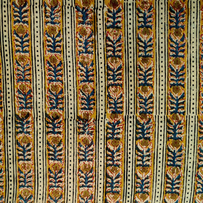 Pure Cotton Kalamkari Stripes With Mustard And Blue Intricate Stripes Hand Block Print Fabric
