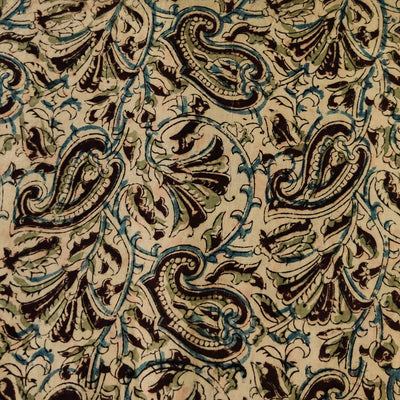 Pure Cotton Kalamkari With Black Blue Kairi Hand Block Print Fabric