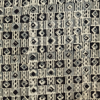 Pure Cotton Kalamkari With Grey And Black Tribal Squares Hand Block Print Fabric