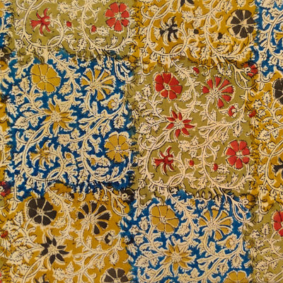 Pure Cotton Kalamkari With Mustard And Blue Block Jaal Hand Block Print Fabric