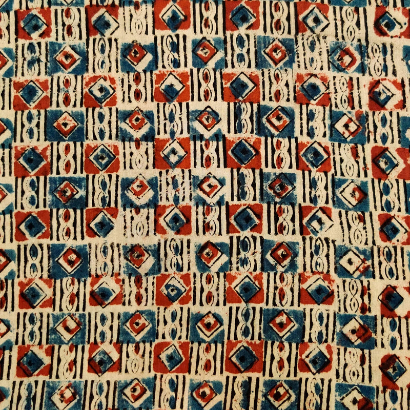 Pure Cotton Kalamkari With Rust And Blue Tribal Squares Hand Block Print Fabric