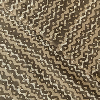 Pure Cotton Kashish With Distorted Wavy Lines Hand Block Print Fabric