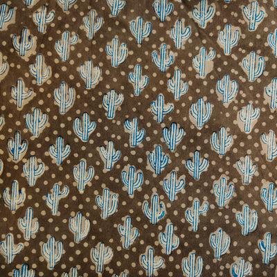 Pure Cotton Kashish With Indigo Outlined Cactus Hand Block Print Fabric