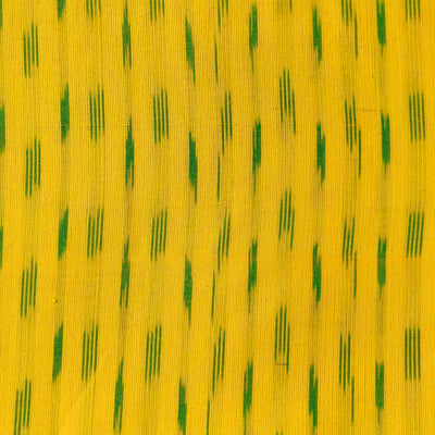 Pure Cotton Lemon Ikkat With Green Tiny Weave Woven Fabric