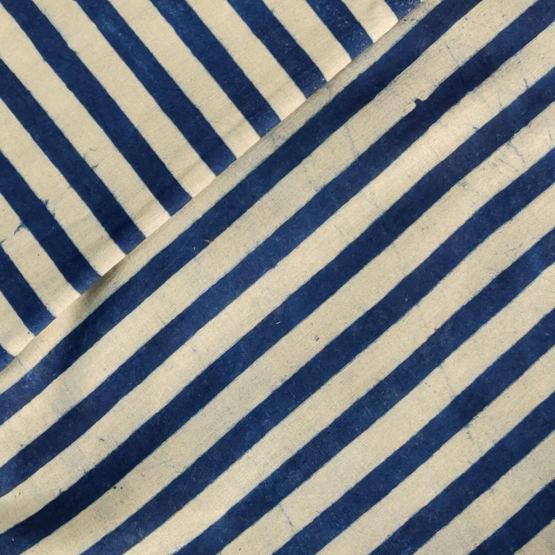 Pure Cotton Light And Dark Indigo Stripes Hand Black Print Fabric