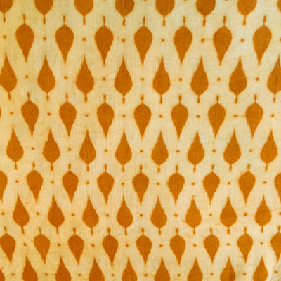 Pure Cotton Light Dabu Mustard With Droplets Hand Block Print Blouse Fabric ( 1 Meter )