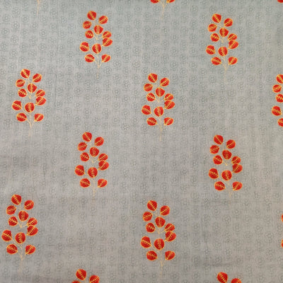 Pure Cotton Light Grey Self Design With Orange Red Wild Grass Screen Print Fabric