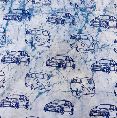 Pure Cotton Light Indigo With Dark Indigo Cars Hand Block Print Blouse Piece Fabric ( 1 Meter ) )
