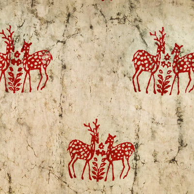 Pure Cotton Light Kashish With Maroon Deer Hand Block Print blouse Fabric ( 90 cm )